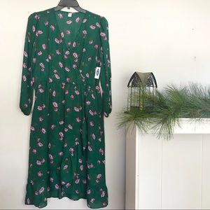 NWT Old navy green floral ruffle dress